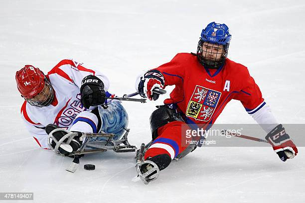 Pavel Kubes of Czech Republic collides with SeungHwan Jung of Korea during the Ice Sledge Hockey Classification match between the Czech Republic and...