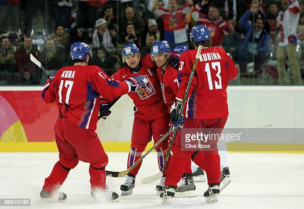 Pavel Kubina Filip Kuba Martin Rucinsky and Milan Hejduk of Czech Republic celebrate after Hejduk scored the first during the quarter final of the...