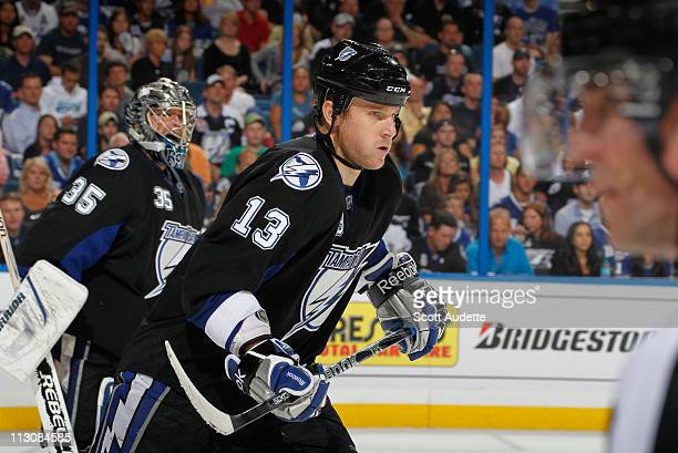Pavel Kubina of the Tampa Bay Lightning skates to the bench during the game against the Pittsburgh Penguins in Game Three of the Eastern Conference...