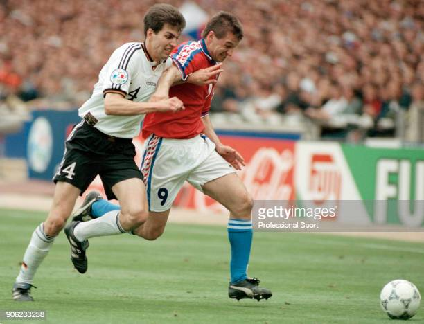 Pavel Kuka of the Czech Republic takes on Markus Babbel of Germany during the UEFA Euro96 final at Wembley Stadium in London on 30th June 1996...