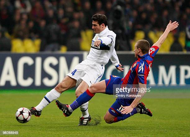 Pavel Mamaev of CSKA Moscow battles for the ball with Javier Zanetti of FC Internazionale Milano during the UEFA Champions League Quarter Finals...
