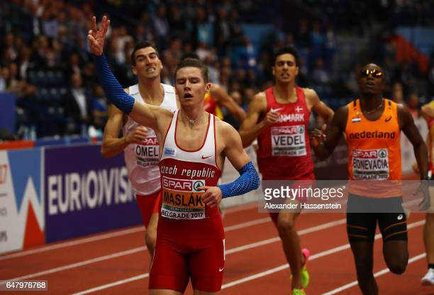 Pavel Maslak of Czech Republic celebrates as he crosses the finish line to win the gold medal during the Men's 400 metres final on day two of the...