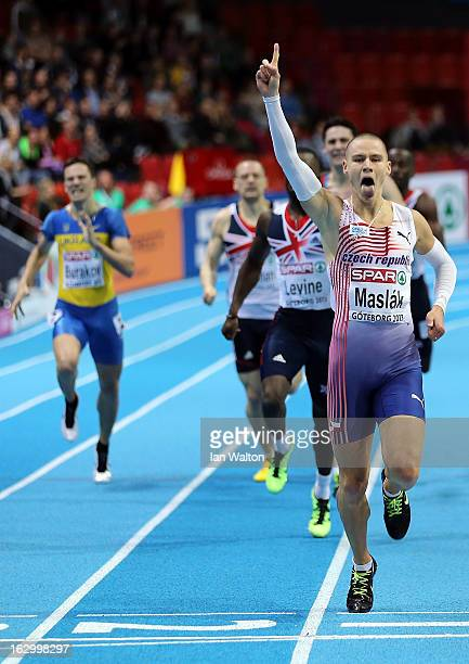 Pavel Maslak of Czech Republic crosses the line to win gold in the Men's 400m Final during day three of European Indoor Athletics at Scandinavium on...