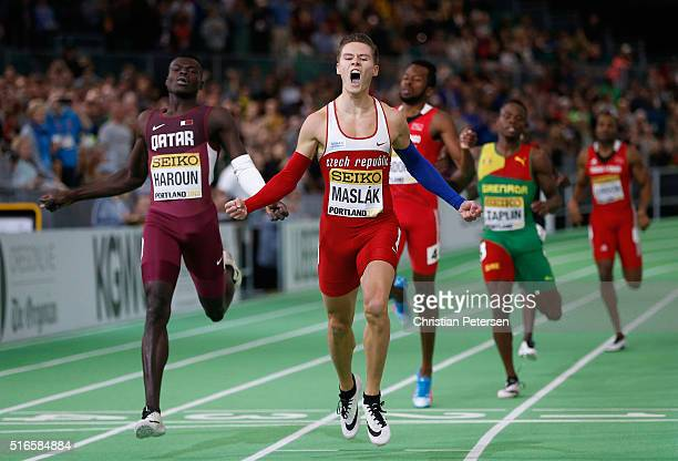 Pavel Maslak of the Czech Republic crosses the line to win gold in the Men's 400 Metres Final during day three of the IAAF World Indoor Championships...