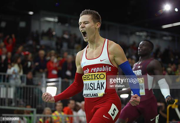 Pavel Maslak of the Czech Republic wins gold in the Men's 400 Metres Final during day three of the IAAF World Indoor Championships at Oregon...