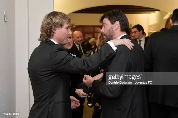 Pavel Nedved and Andrea Agnelli during the Juventus Team Christmas Party at on December 18 2017 in Turin Italy