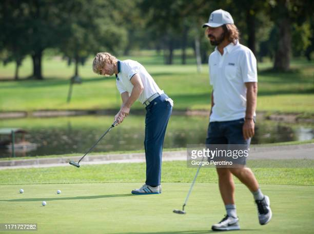 Pavel Nedved and Andrea Pirlo attend ProAm Fondazione Vialli Mauro Golf Cup at Royal Park Golf Country Club on September 02 2019 in Turin Italy