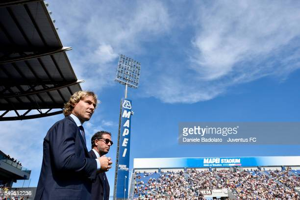 Pavel Nedved and Fabio Paratici during the Serie A match between US Sassuolo and Juventus at Mapei Stadium Citta' del Tricolore on September 17 2017...