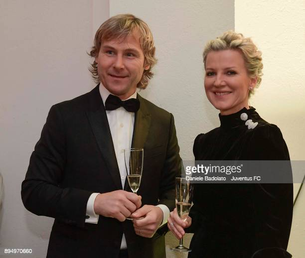 Pavel Nedved and his wife Ivana during the Juventus Team Christmas Party at on December 18 2017 in Turin Italy