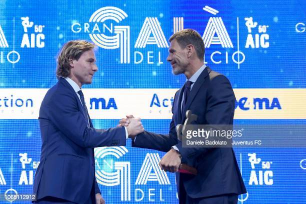 Pavel Nedved and Zvonimir Boban during the 'Oscar Del Calcio AIC' Italian Football Awards on December 3, 2018 in Milan, Italy.