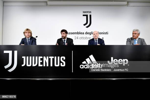 Pavel Nedved Andrea Agnelli Giuseppe Marotta and Aldo Mazzia attending Juventus press conference after Shareholders assembly at Allianz Stadium on...