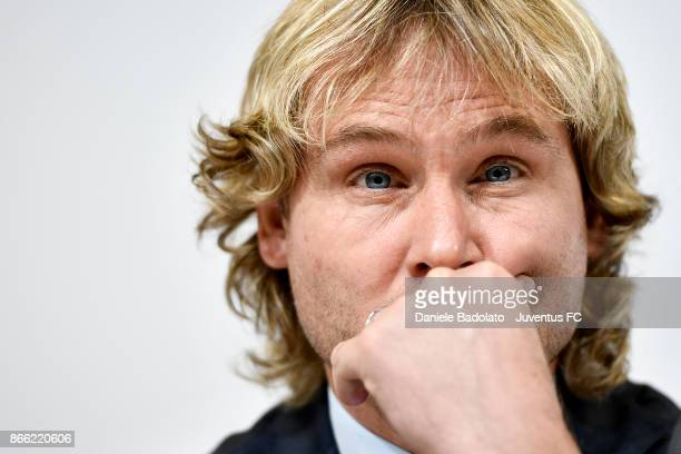 Pavel Nedved attends Juventus press conference after Shareholders assembly at Allianz Stadium on October 24 2017 in Turin Italy