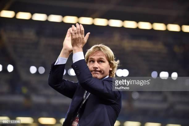 Pavel Nedved company director of Juventus waves his supporters ahead the UEFA Champions League Final match between Real Madrid and Juventus at the...