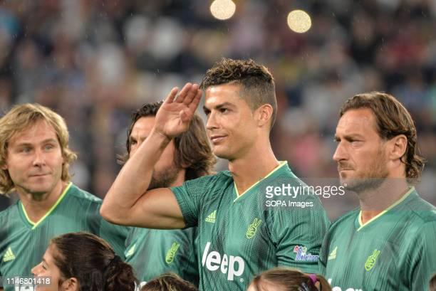 Pavel Nedved Cristiano Ronaldo and Francesco Totti from Campioni Per La Ricerca seen during the 'Partita Del Cuore' Charity Match at Allianz Stadium...