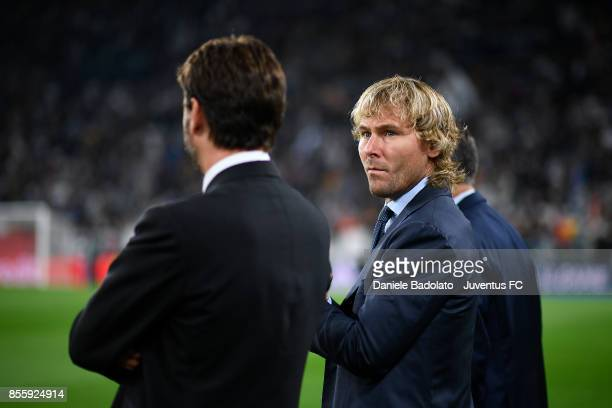Pavel Nedved during the UEFA Champions League group D match between Juventus and Olympiakos Piraeus at Allianz Stadium on September 27 2017 in Turin...