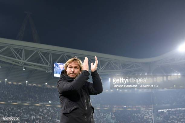 Pavel Nedved in action during the serie A match between Juventus and AS Roma at Allianz Stadium on December 23 2017 in Turin Italy