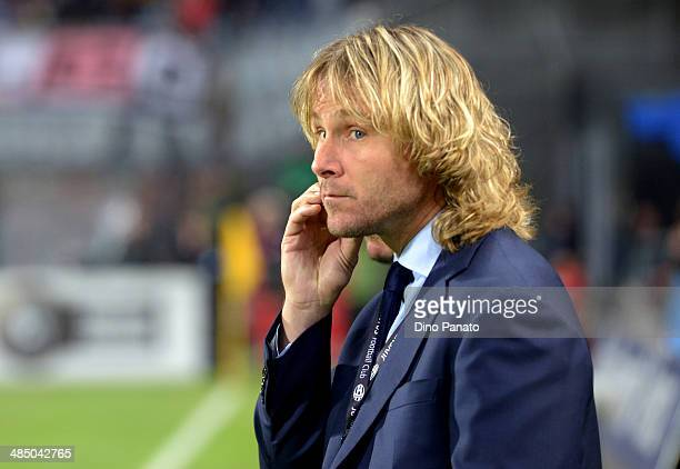 Pavel Nedved member of the board of Juventus looks on during the Serie A match between Udinese Calcio and Juventus at Stadio Friuli on April 14 2014...