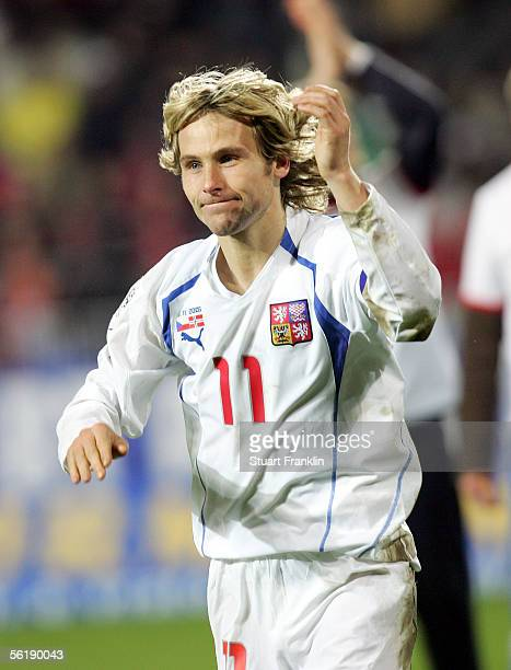 Pavel Nedved of Czech celebrates qualification after winning the second leg of The FIFA World Cup 2006 Qualification playoff match between Czech...