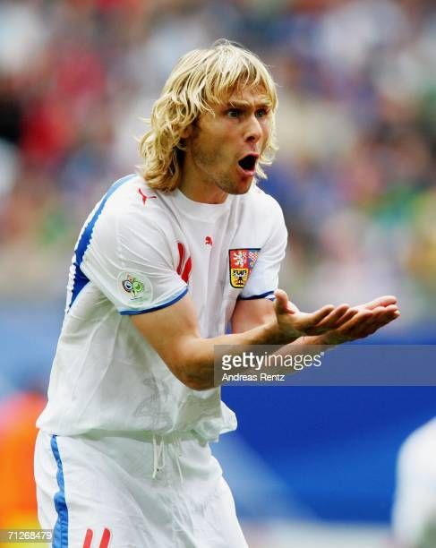 Pavel Nedved of Czech Republic gestures during the FIFA World Cup Germany 2006 Group E match between Czech Republic and Italy played at the Stadium...