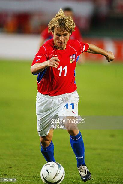 Pavel Nedved of Czech Republic runs with the ball during the UEFA European Championships 2004 Group Three Qualifying match between Austria and Czech...