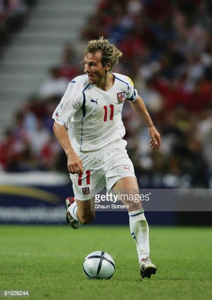 Pavel Nedved of Czech Republic runs with the ball during the UEFA Euro 2004 Quarter Final match between Czech Republic and Denmark at the Dragao...