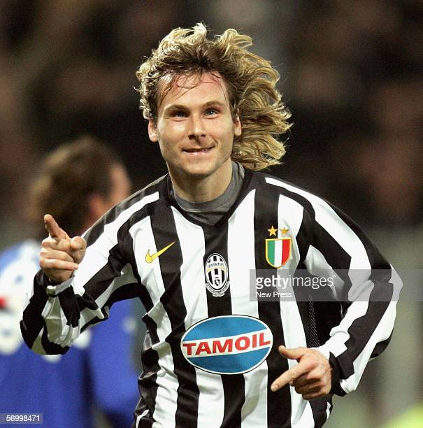 Pavel Nedved of Juve celebrates his goal during the Serie A game between Sampdoria and Juventus at the Luigi Ferraris stadium on March 4, 2006 in...
