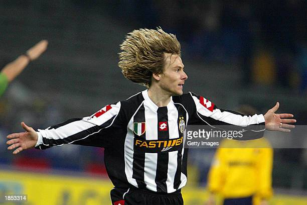 Pavel Nedved of Juventus celebrates after scoring during the Serie A match between Juventus and Modena played at the Stadio Delle Alpi Turin Italy on...