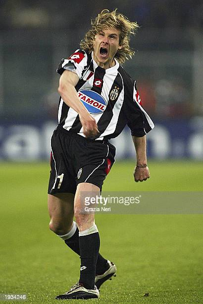 Pavel Nedved of Juventus celebrates his team taking the lead during the UEFA Champions League quarterfinals first leg match between Juventus and...