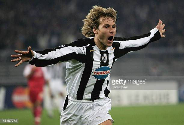 Pavel Nedved of Juventus celebrates scoring the only goal during the Champions League Group C match between Juventus and Bayern Munich in the Stadio...