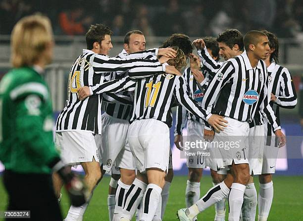 Pavel Nedved of Juventus celebrates with team mates during the Serie B match between Juventus and Bari at the Stadio Delle Alpi on January 20 2007 in...