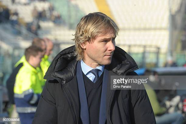 Pavel Nedved of Juventus FC looks on before the Serie A match between Carpi FC and Juventus FC at Alberto Braglia Stadium on December 20 2015 in...