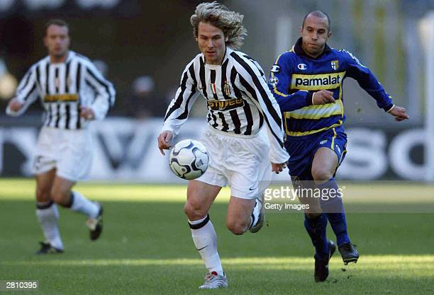 Pavel Nedved of Juventus in action during the Juventus v Parma Serie A match played at the Delle Alpi Stadium December 14 2003 in Turin Italy