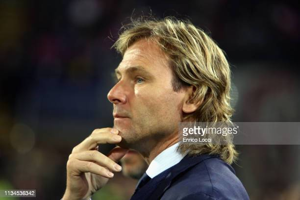 Pavel Nedved of Juventus looks on during the Serie A match between Cagliari and Juventus at Sardegna Arena on April 2, 2019 in Cagliari, Italy.
