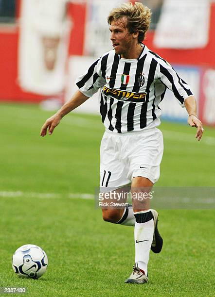 Pavel Nedved of Juventus looks to pass the ball during a Champions World Series game between Barcelona and Juventus on July 27 2003 at Gillette...
