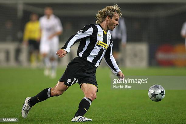 Pavel Nedved of Juventus runs with the ball during the UEFA Champions League Group H match between Juventus and Real Madrid at the Stadio Olimpico on...