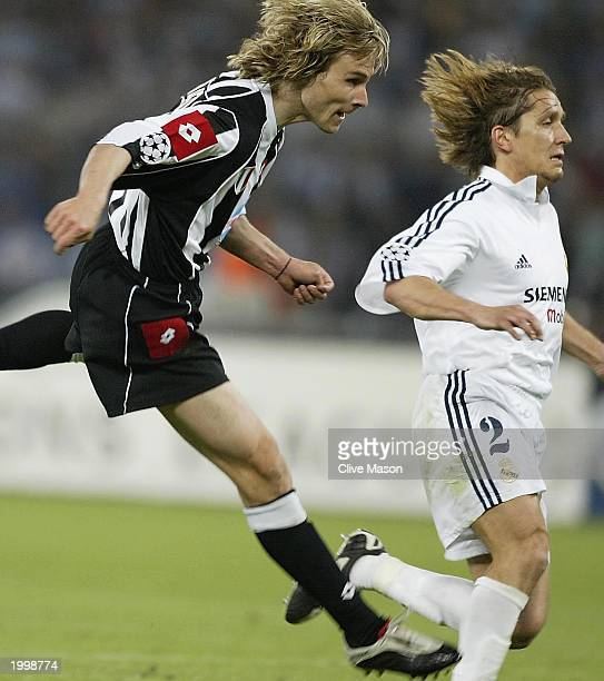 Pavel Nedved of Juventus scores during the UEFA Champions League semi final second leg match between Juventus and Real Madrid on May 14 2003 at the...