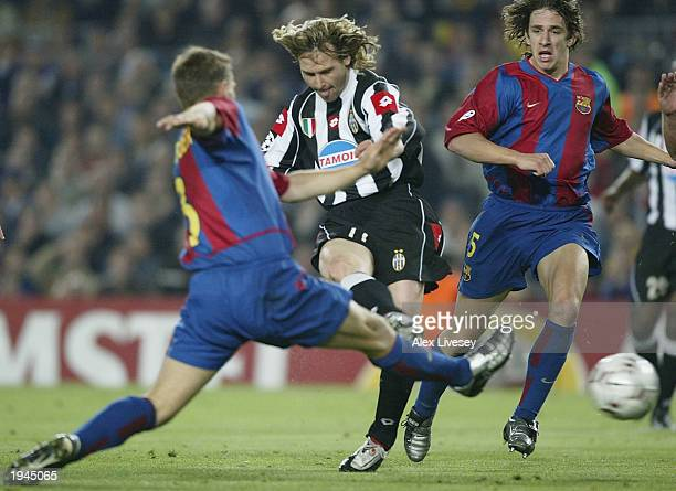 Pavel Nedved of Juventus scores the first goal during the UEFA Champions League QuarterFinal second leg match between Barcelona and Juventus at the...