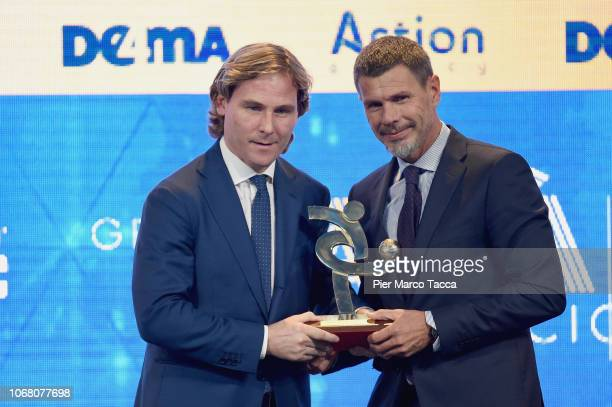 Pavel Nedved receives the prize for the best team from Zvonimir Boban at the 'Oscar Del Calcio AIC' Italian Football Awards on December 3, 2018 in...