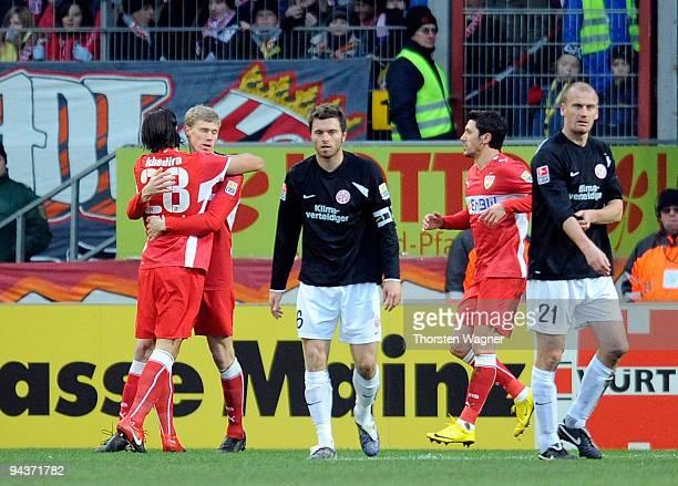 Pavel Pogrebnyak celebrates after scoring the 10 with his team mate Sami Khedira during the Bundesliga match between FSV Mainz 05 and VFB Stuttgart...