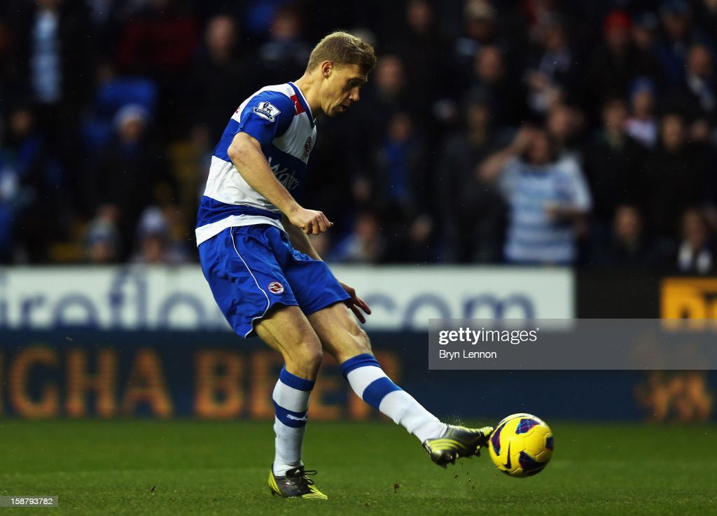Pavel Pogrebnyak of Reading scores the opening goal during the Barclays Premier League match between Reading and West Ham United at the Madejski Stadium on December 29, 2012 in Reading, England.