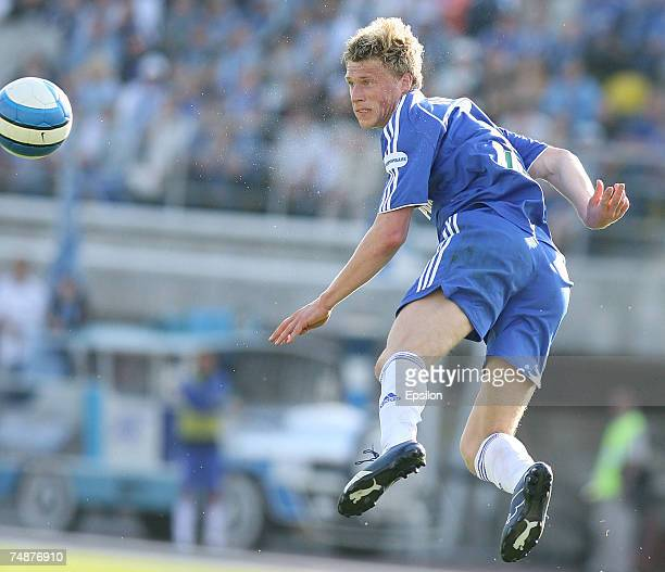Pavel Pogrebnyak of Zenit St. Petersburg in action during the Russian League Championship match between Zenit St. Petersburg and Spartak Nalchik on...