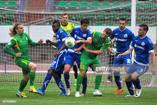 Pavel Rybak of FC Neman Grodno vies for the ball during the Belarusian Premier League match between FC Neman Grodno and FC Dinamo Minsk at the Neman...