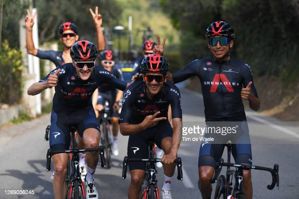 Pavel Sivakov of Rusia, Richard Carapaz of Ecuador, Egan Bernal of Colombia and Team INEOS Grenadiers during the Team INEOS Grenadiers - Training /...