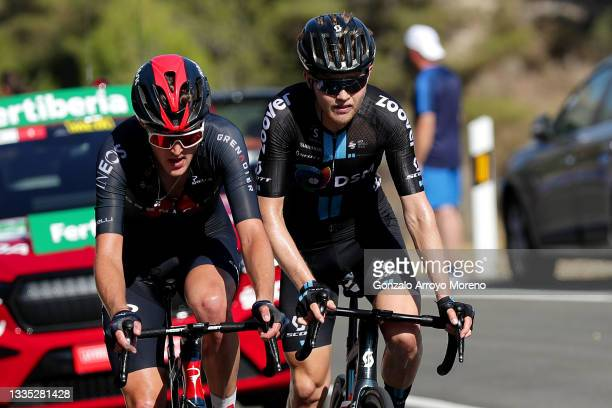 Pavel Sivakov of Russia and Team INEOS Grenadiers and Michael Storer of Australia and Team DSM compete during the 76th Tour of Spain 2021, Stage 7 a...
