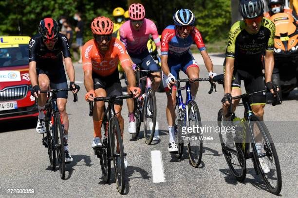 Pavel Sivakov of Russia and Team INEOS Grenadiers / Simon Geschke of Germany and CCC Team / Neilson Powless of The United States and Team EF Pro...