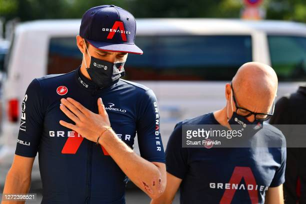 Pavel Sivakov of Russia and Team INEOS Grenadiers / Sir Dave Brailsford of The United Kingdom Senior manager of Team INEOS Grenadiers /Mask / Covid...
