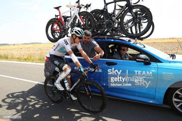 Pavel Sivakov of Russia and Team Sky / Injury / Mechanic / Car / during the 73rd Tour of Spain 2018, Stage 10 a 177km stage from Salamanca. VIII...