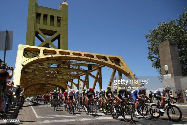 Pavel Sivakov of Russia riding for Team Sky leads the peloton across Tower bridge during stage seven of the 13th Amgen Tour of California, a 143km...