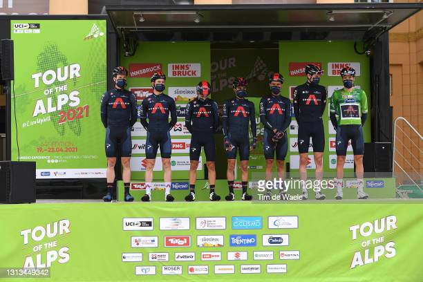 Pavel Sivakov of Russia, Sebastian Henao Gomez of Colombia, Daniel Felipe Martinez Poveda of Colombia, Gianni Moscon of Italy Green Leader Jersey,...