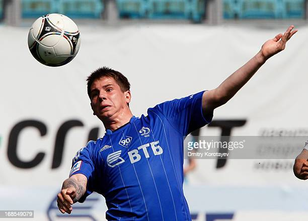 Pavel Solomatin of FC Dynamo Moscow in action during the Russian Premier League match between FC Dynamo Moscow and FC Krasnodar at the Arena Khimki...